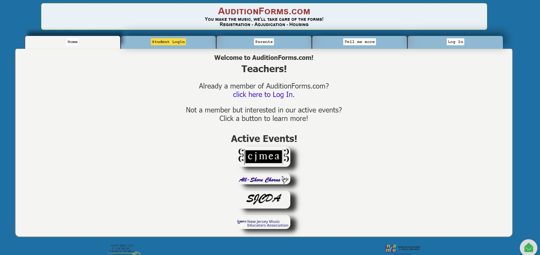 AuditionForms.com home page